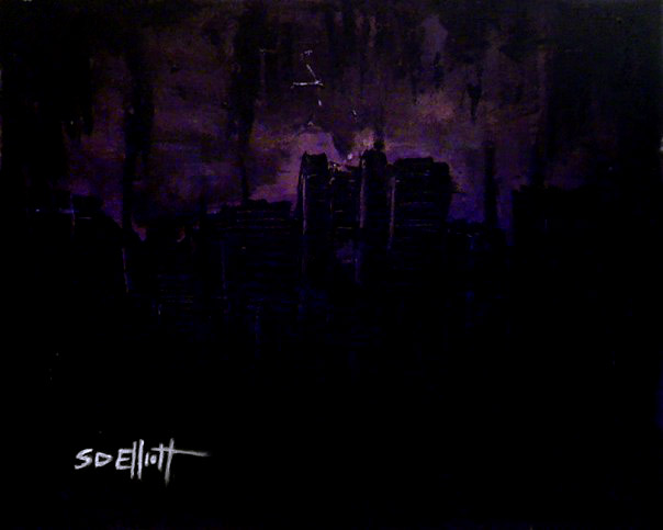 full view of Dark City: Amethyst painting
