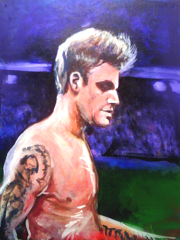 full view of David Beckham painting