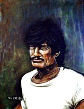 full view of Charles Bronson painting
