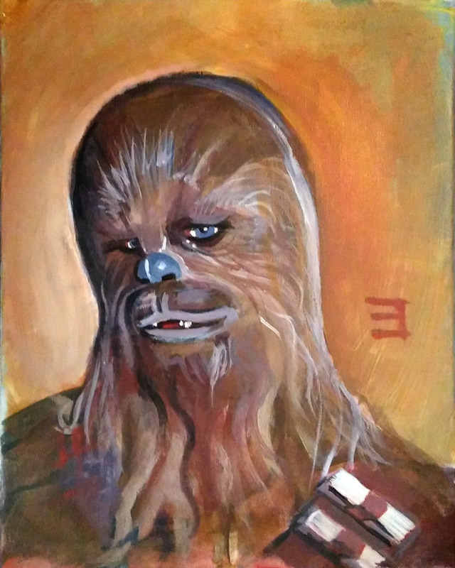 full view of Chewbacca - Feelin' Coy painting