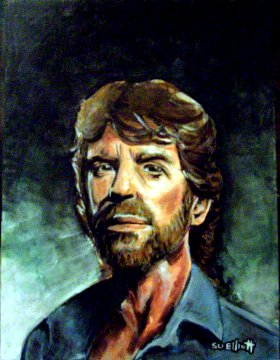 full view of Chuck Norris painting