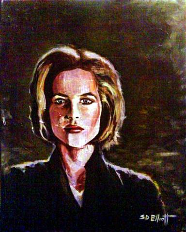 full view of Dana Scully painting