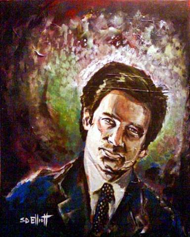 full view of Fox Mulder painting