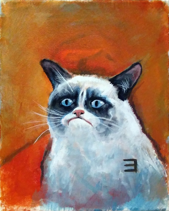 full view of Grumpy Cat painting