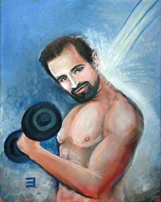 full view of Hugh Jackman - Getting Pumped in the Shower painting