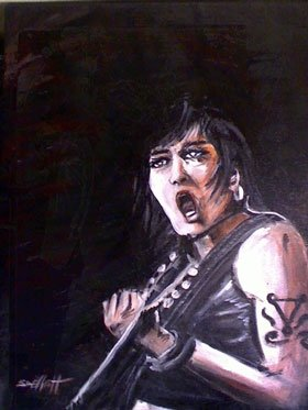 full view of Joan Jett painting
