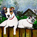 thumbnail of Killers on a Fence painting