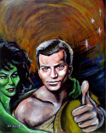 full view of Captain Kirk - First Visit to Orion painting