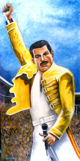 full view of Freddie Mercury - at Wembley painting