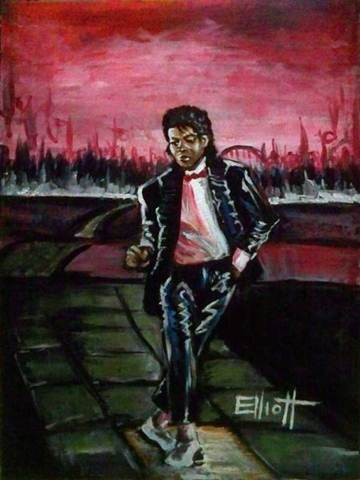 full view of Michael Jackson - Billie Jean painting
