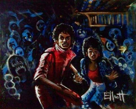 full view of Michael Jackson - Thriller painting
