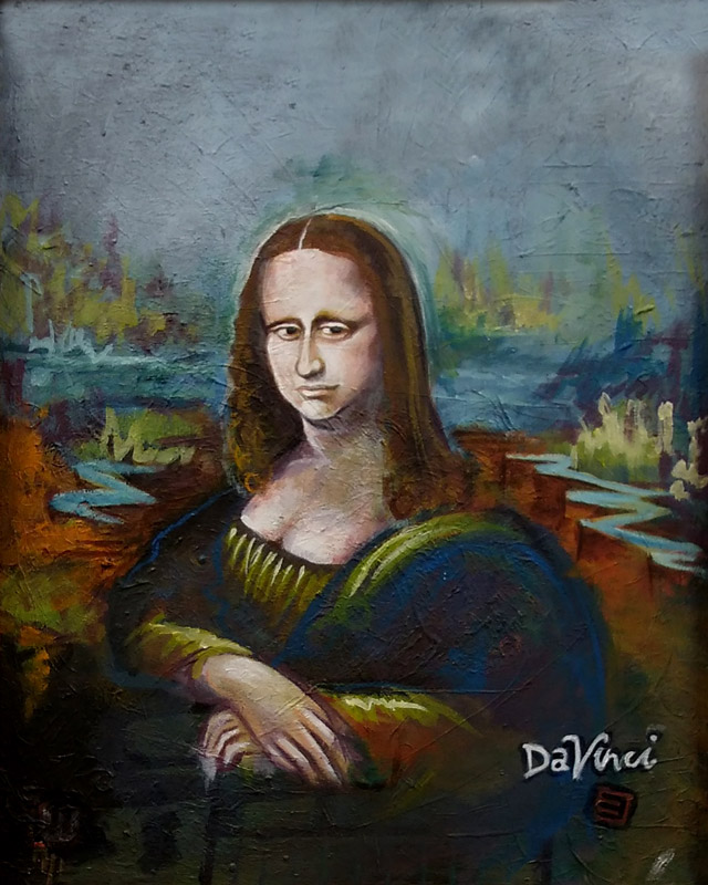 full view of A Mona Lisa - by Da' Vinci painting