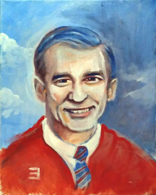 full view of Mr. Rogers painting