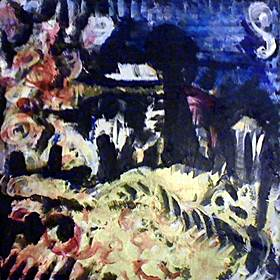 full view of Nine Lives no. 5 - Death by Dragon Indigestion painting
