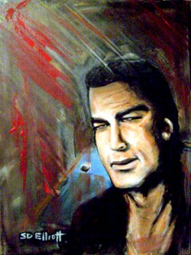 full view of Steven Seagal - Sees Red painting